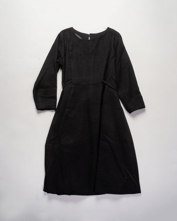13201 08311 women's gasa japan linen silk wool twill corset seamed front dress tied belt waist in black noodle stories
