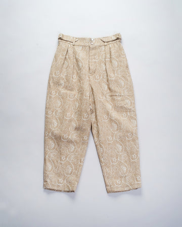 13201 09113 gasa japan pants trousers slacks women's gasa embroidered floral jacquard pants in beige grey noodle stories