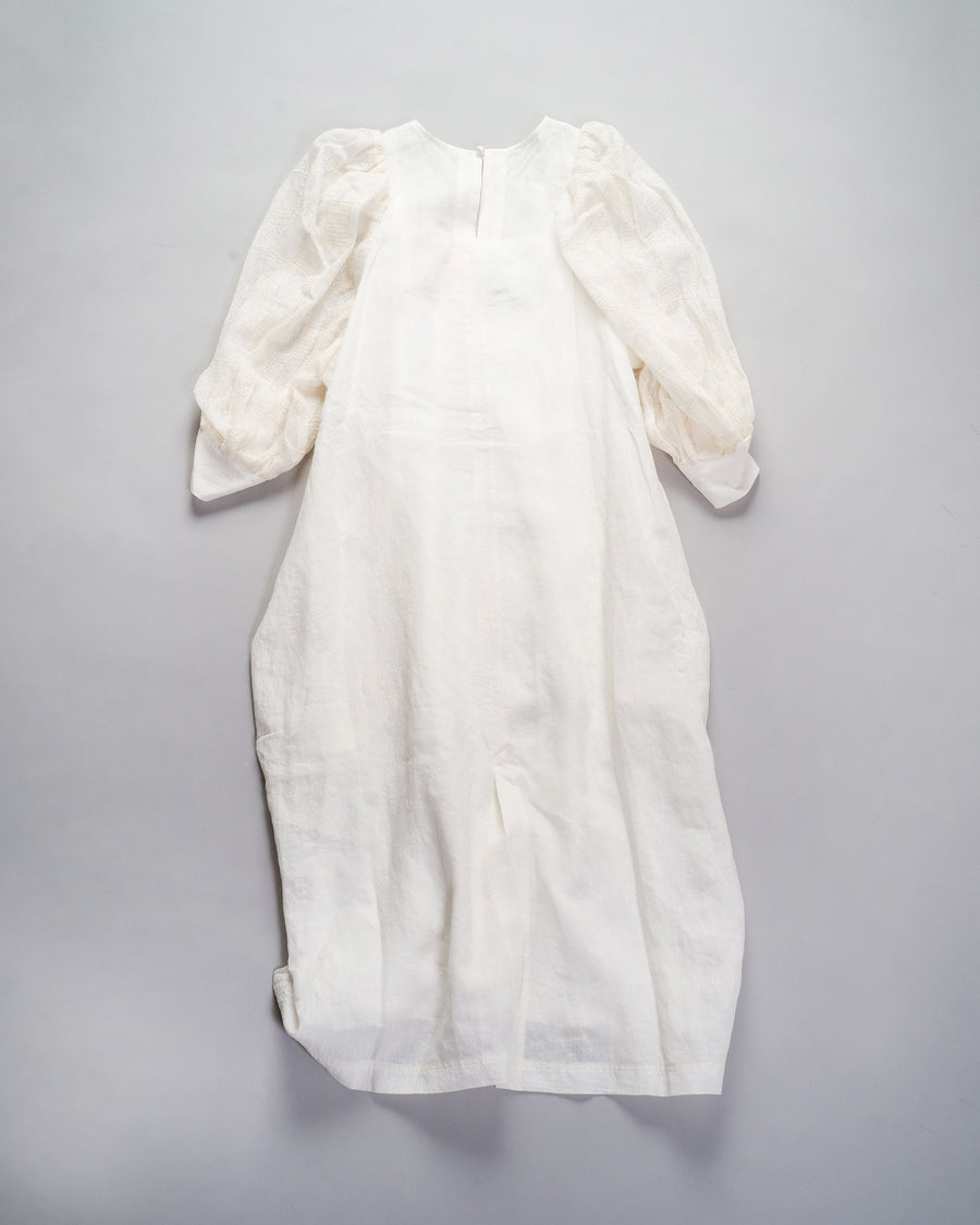 33201 05111 women's native village gasa japan puff sleeve dress linen check grid off-white off white noodle stories