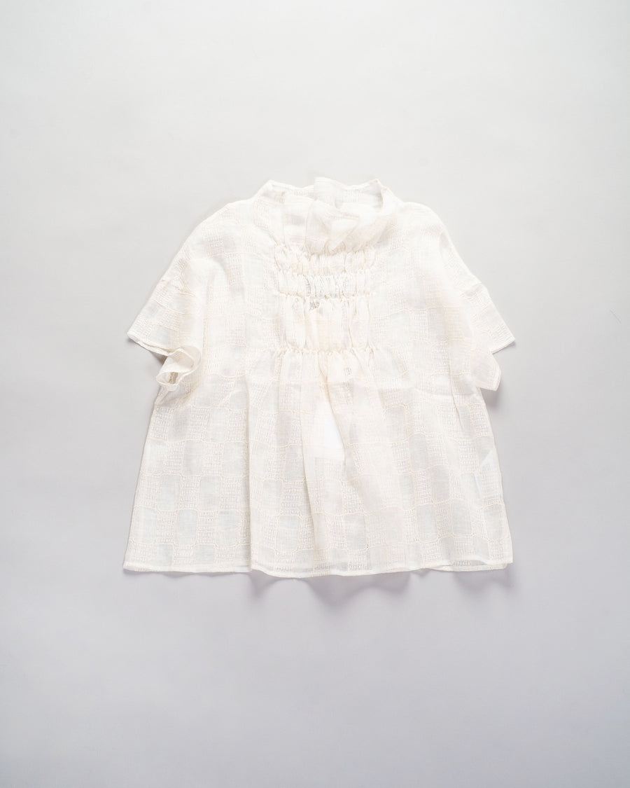 33201 05207 women's native village gasa japan gathered blouse shirred smocked linen check grid off-white off white noodle stories