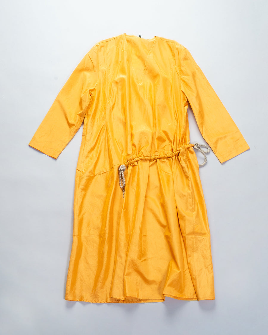 33201 12111 women's native village gasa japan v-neck v-neckline drawcord drawstring rope dress silk orange yellow noodle stories