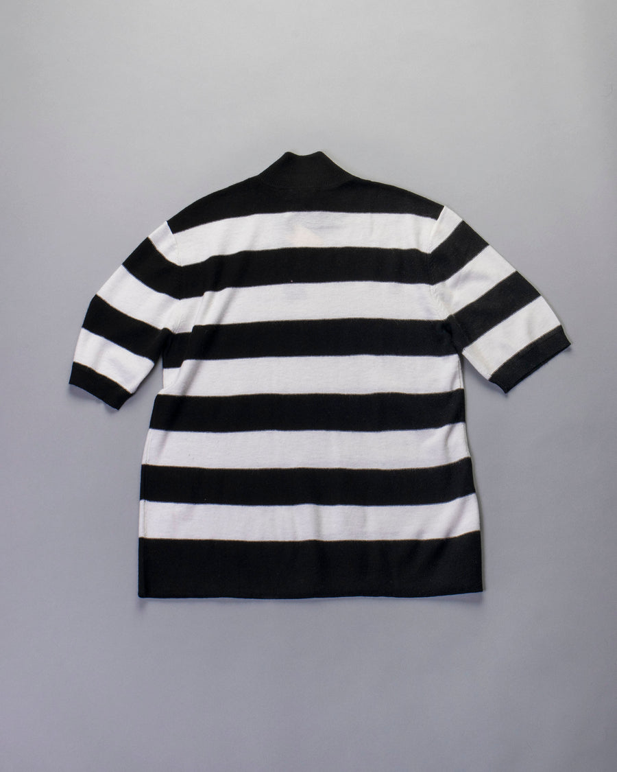 striped mock pullover