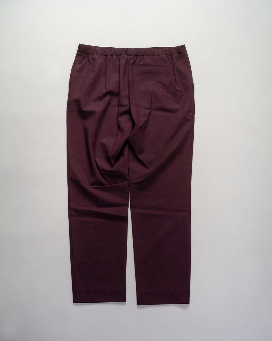 6397, PANTS, NP026, PULL, ON, TROUSER, ANKLE, CROP, WOOL, ELASTANE, PULL-ON, ELASTIC, DARK, PURPLE, MAROON, WINE, BURGUNDY,