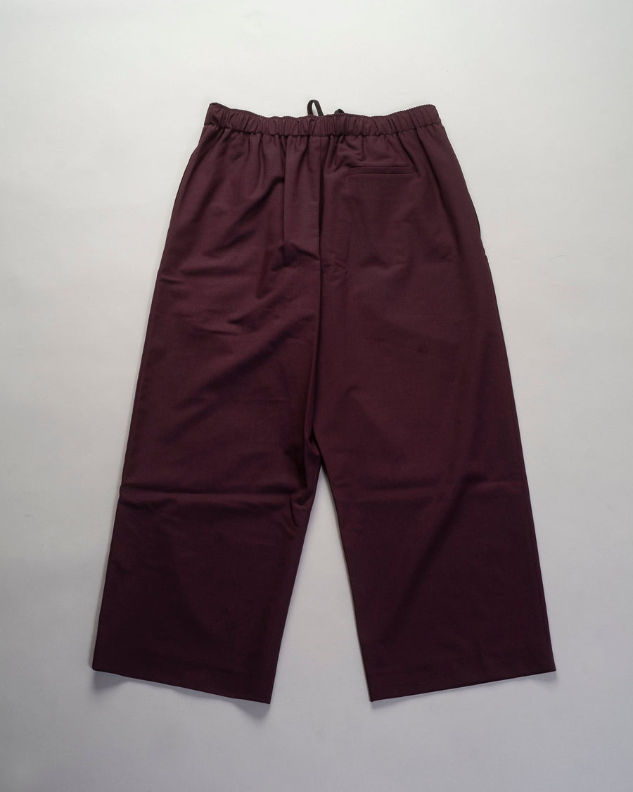 6397, PANTS, NP124, WIDE, LEG, PULL, ON, TROUSER, PULL-ON, ANKLE, CROP, WOOL, ELASTANE, DRAWSTRING, DARK, RED, MAROON, BURGUNDY, WINE