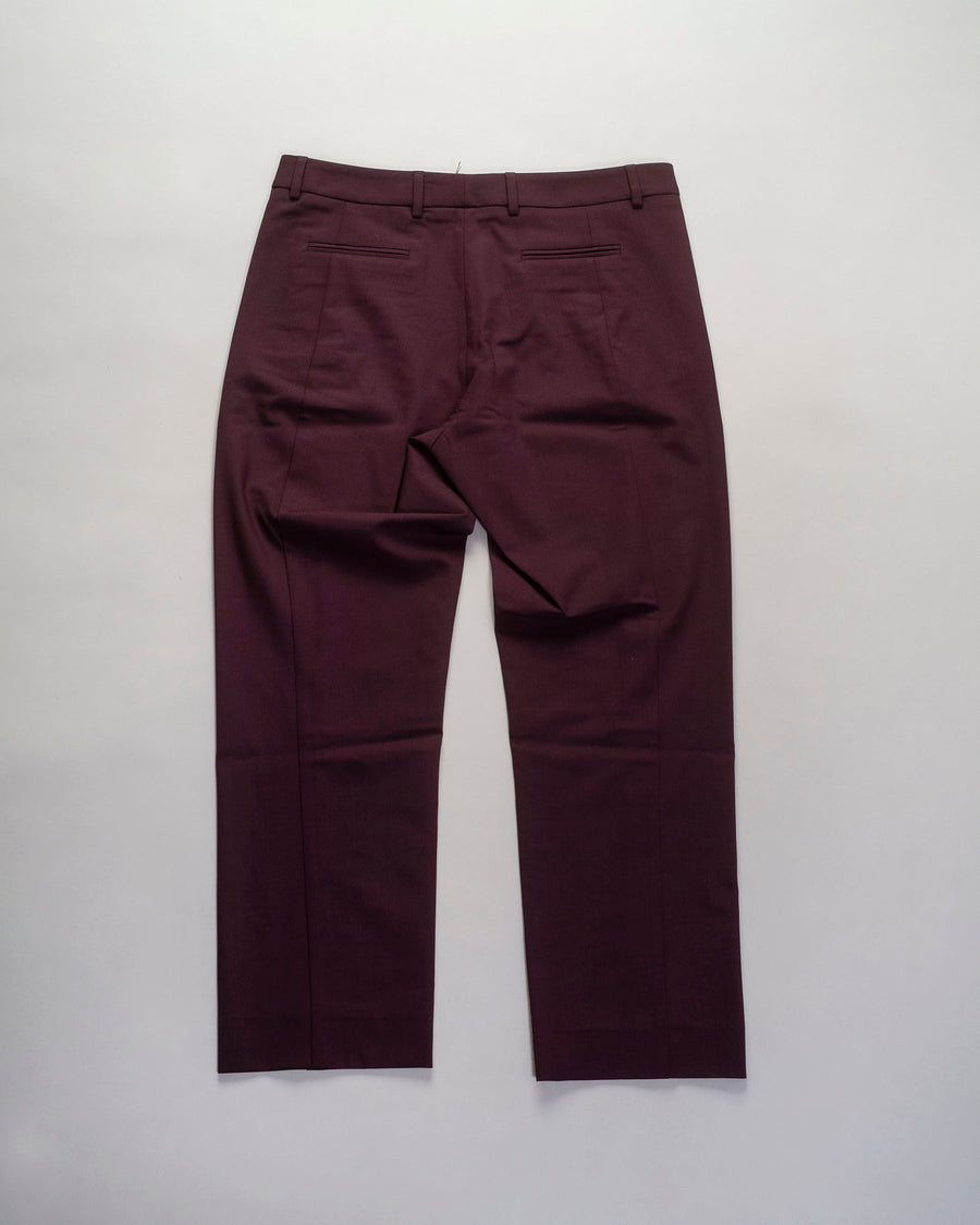 6397, PANTS, NP191, SEAMED, TROUSER, SLACKS, ANKLE, CROP, WOOL, ELASTANE, DARK, PURPLE, BURGUNDY, WINE, MAROON,