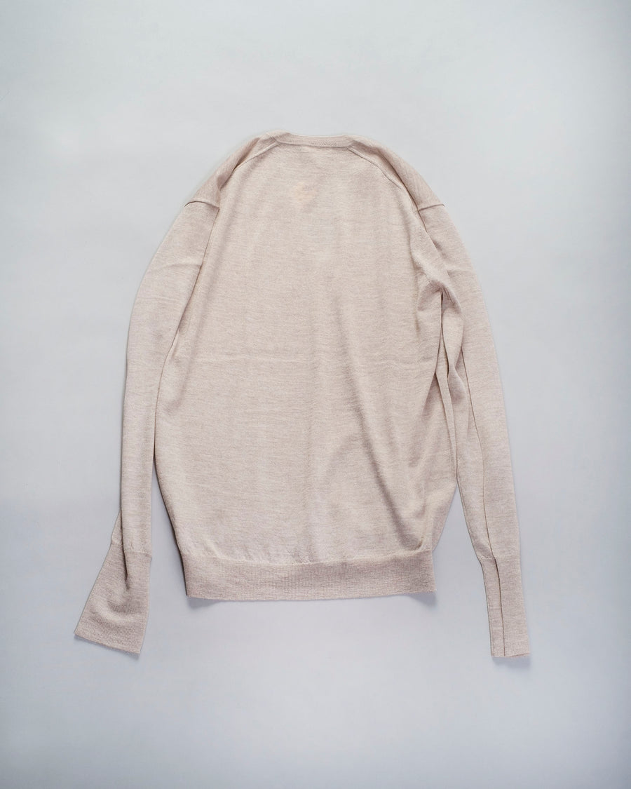 6397, SWEATER, NSW007, PERFECT, V, VEE, NECK, LONG, SLEEVE, MERINO, OATMEAL, BEIGE, HEATHER,