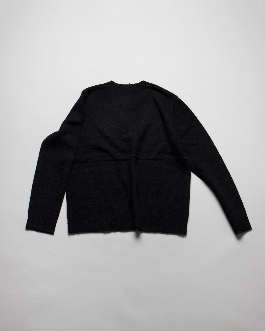 6397, SWEATER, NSW044, WOMEN'S, NOODLE, STORIES, OVERSIZED, CREWNECK, CREW, LONG, SLEEVE, MERINO, CASHMERE, SNIPER, BLACK,