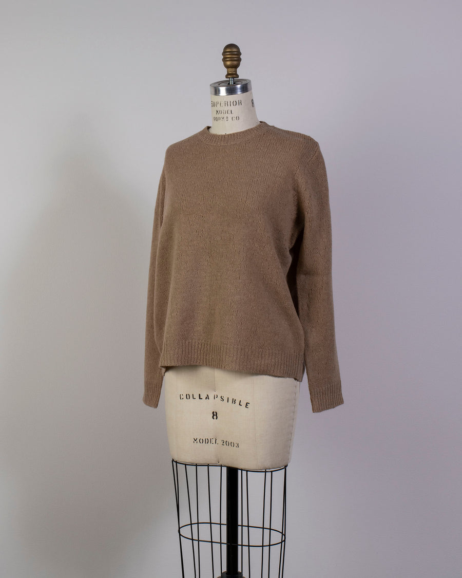 6397, SWEATER, NSW044, WOMEN'S, NOODLE, STORIES, OVERSIZED, CREWNECK, CREW, LONG, SLEEVE, MERINO, CASHMERE, SNIPER, BROWN, BEIGE, CAMEL,