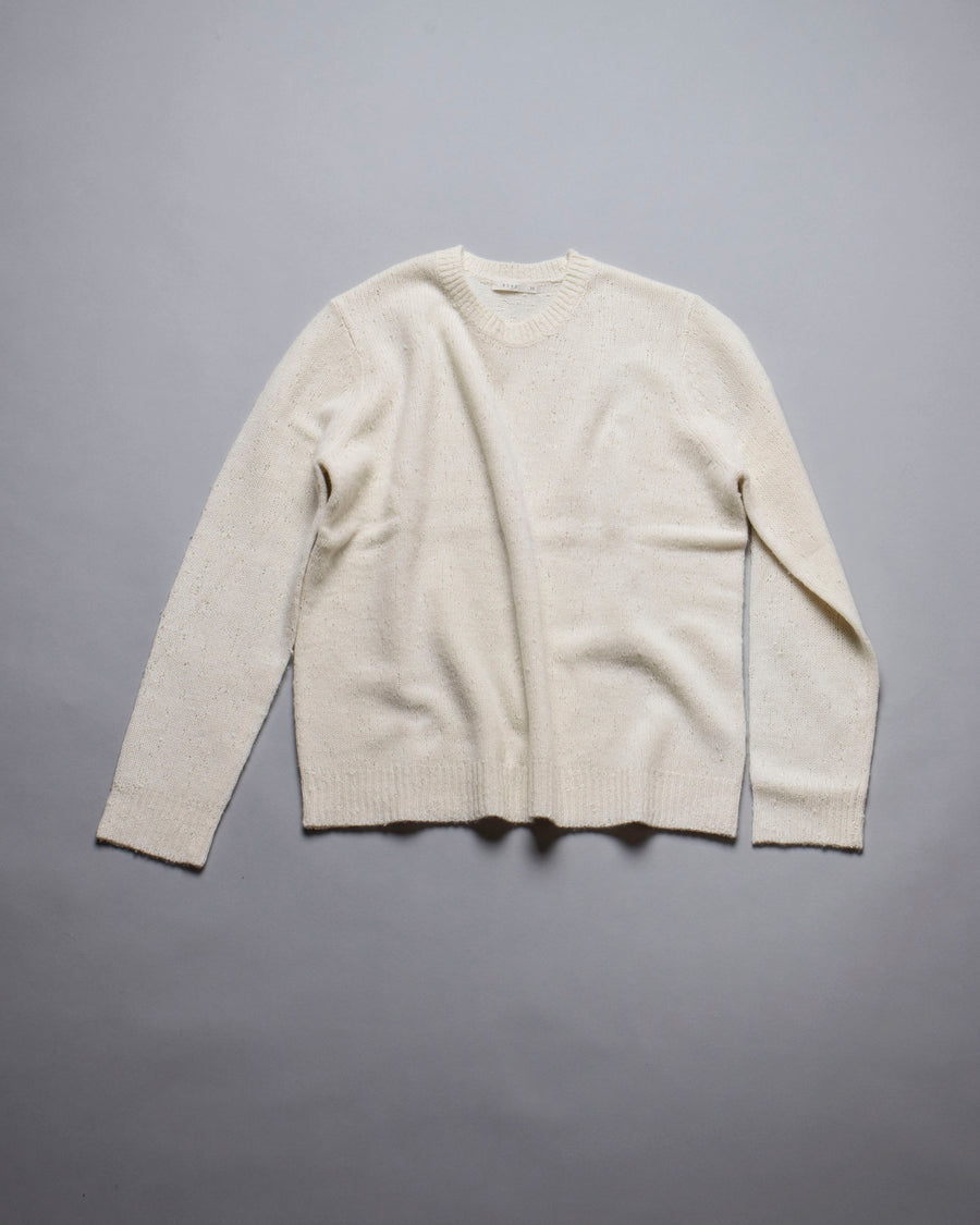 6397, SWEATER, NSW044, WOMEN'S, NOODLE, STORIES, OVERSIZED, CREWNECK, CREW, LONG, SLEEVE, MERINO, CASHMERE, SNIPER, CREAM, ECRU, OFF, WHITE,