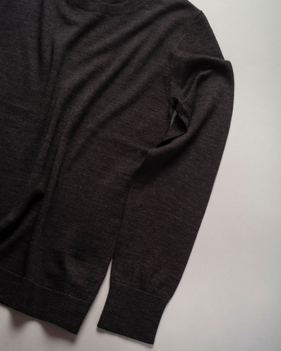 6397, SWEATER, NSW093, SHRUNKEN, CREW, CREWNECK, PULLOVER, LONG, SLEEVE, MERINO, WOOL, CHARCOAL, DARK, GREY,
