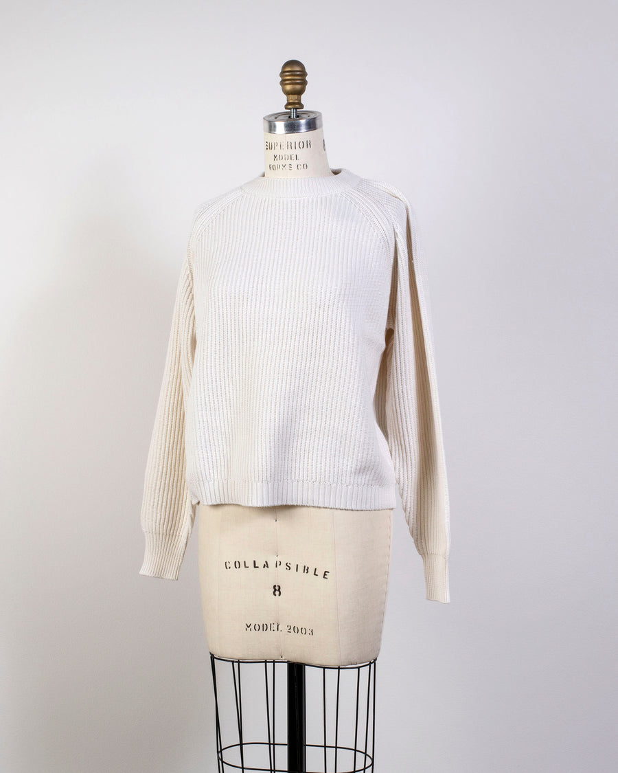 6397, SWEATER, NSW163, RAGLAN, CREWNECK, COTTON, CASHMERE, FISHERMAN, RIB, ECRU, CREAM, OFF, WHITE,