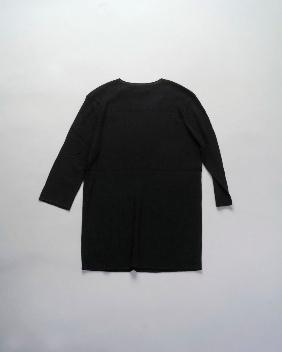 6397, SWEATER, NSW167, POOR, BOY, RIB, CREWNECK, ELBOW, SLEEVE, MERINO, WOOL, BLACK,