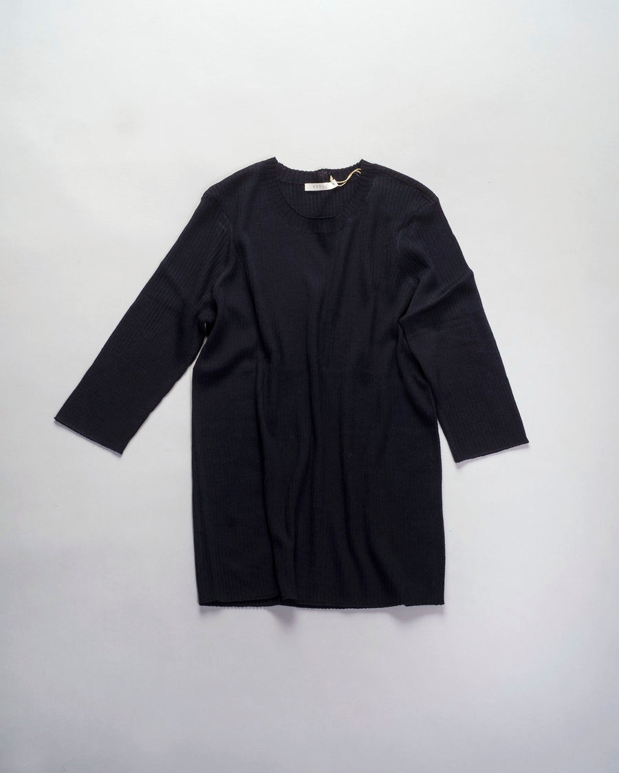 6397, SWEATER, NSW167, POOR, BOY, RIB, CREWNECK, ELBOW, SLEEVE, MERINO, WOOL, DARK, BLUE, NAVY,