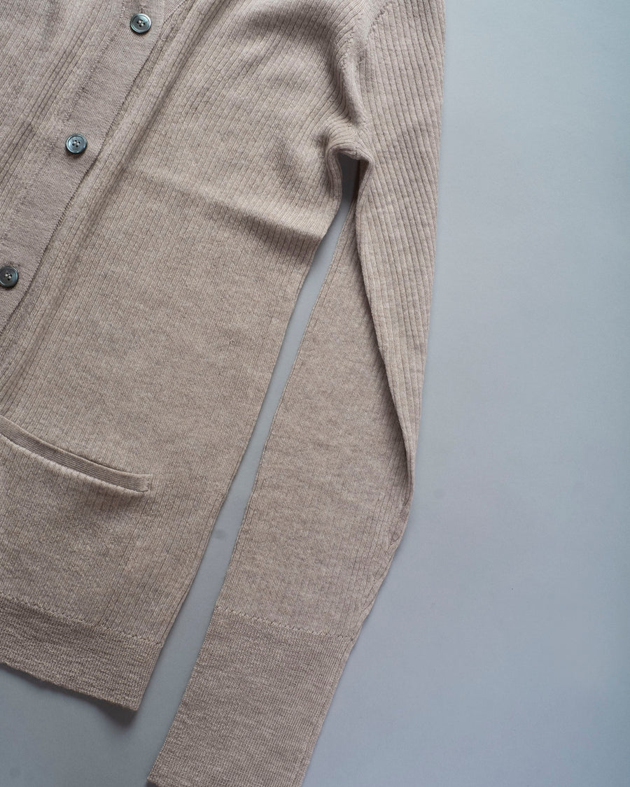 6397, SWEATER, NSW227, MERINO, WOOL, POOR, BOY, RIB, CARDI, CARDIGAN, WOMEN'S, NOODLE, STORIES, HEATHER, BEIGE, OATMEAL