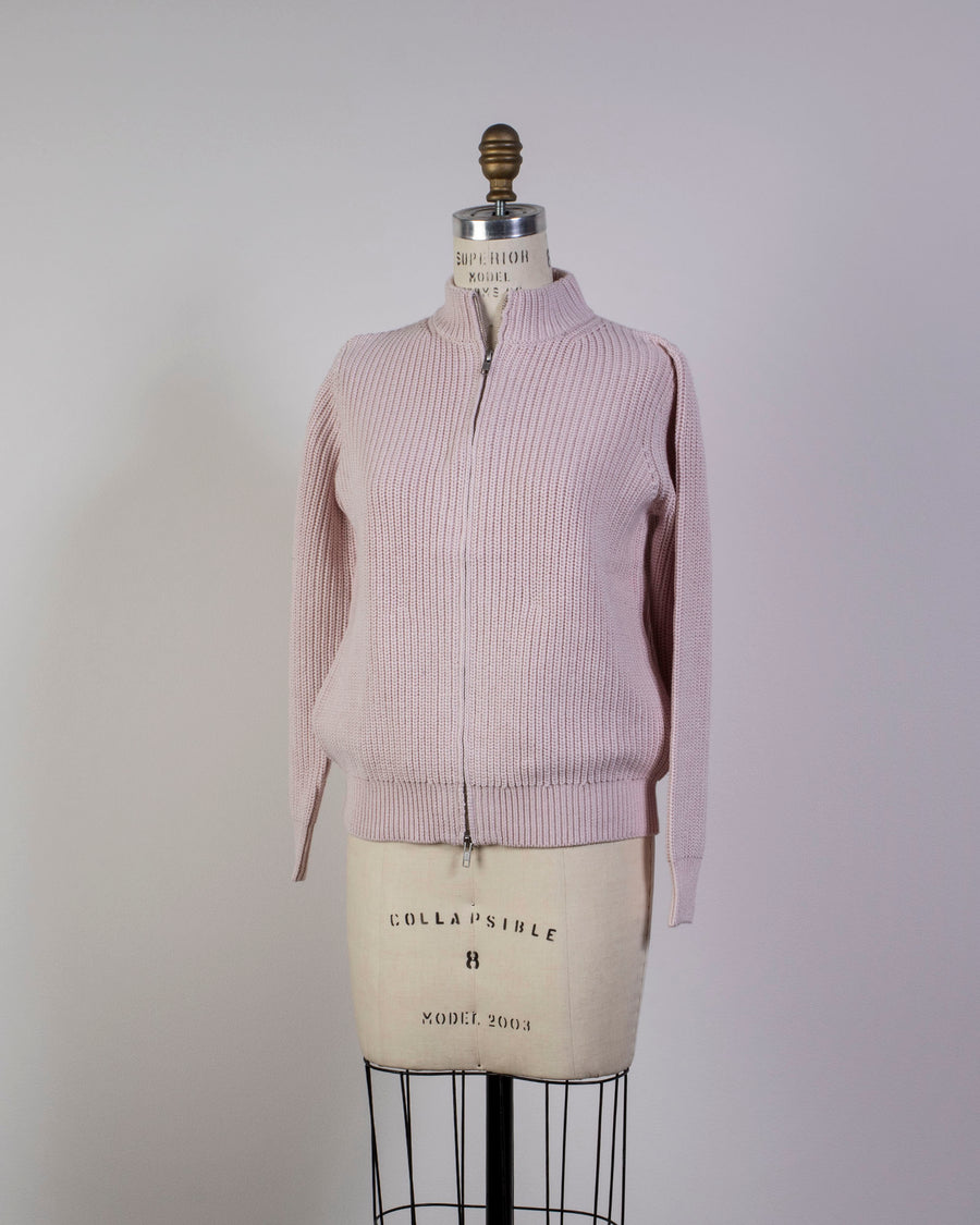 6397, SWEATER, NSW230, ZIP, CARDIGAN, JACKET, COTTON, CASHMERE, ZIPPER, BLUSH, PINK,