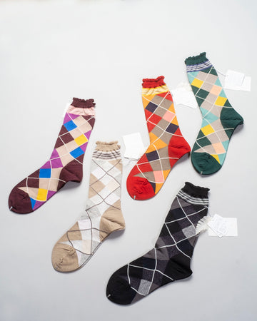 AM-412A, noodle stories, antipast, women's, women, socks, socks, argyle, crew, black, red, wine, green, beige, knit, knitted, jacquard, diamond, harlequin