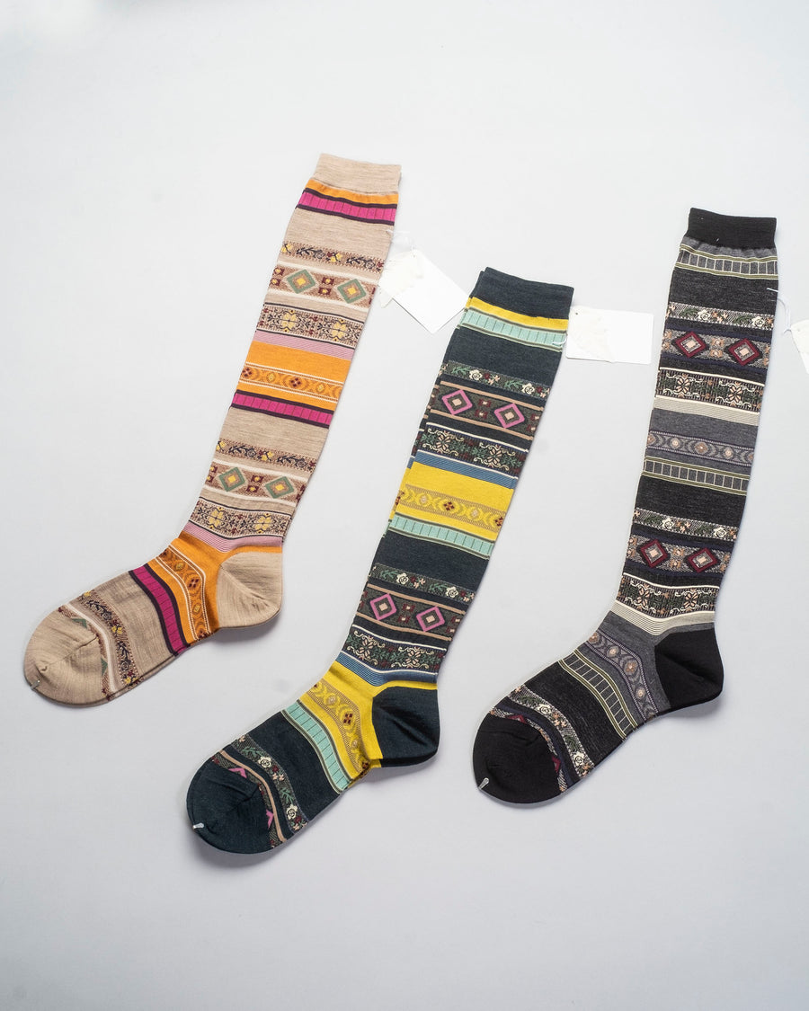 AM-626AHS, noodle stories, fw20, antipast, japan, women's, women, socks, sock, knee, tyrolean, floral, stripe,