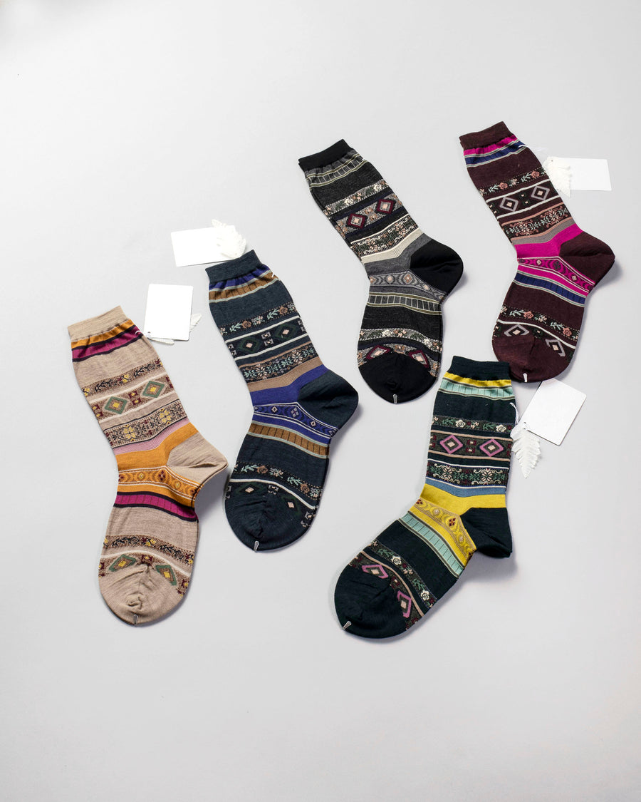 AM-626A, antipast, japan, noodle, stories, women's, tyrolean, stripe, socks, beige, navy, black, wine, green, crew,