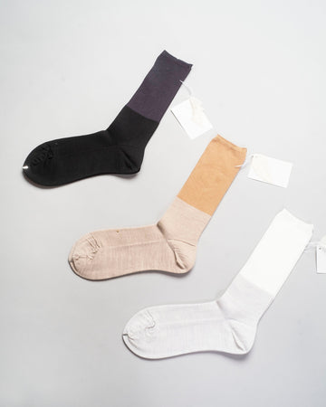 ANP-92G, noodle stories, fw20, antipast, japan, women's, women, socks, sock, crew, silk, two, tone, two-tone, black, beige, off-white, white,