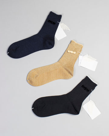 ribbon trim lurex crew socks