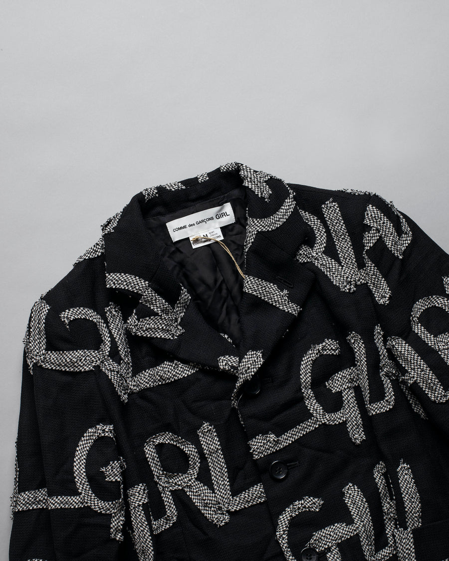 CDG, GIRL, COMME, DES, GARCONS, JACKET, NF-J014, NFJ014, WOMENS, WOMEN'S, NOODLE, STORIES, WOOL, GAUZE, CHECKED, RIBBON, EMBROIDERED, APPLIQUE, LOGO, BLACK,