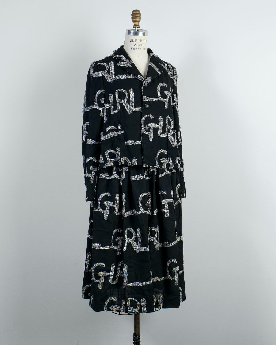 CDG, GIRL, COMME, DES, GARCONS, SKIRT, NF-S004, NFS004, WOMENS, WOMEN'S, NOODLE, STORIES, WOOL, GAUZE, CHECKED, RIBBON, EMBROIDERED, APPLIQUE, LOGO, ELASTIC, WAISTBAND, MIDI, GATHERED, FULL, A-LINE, BLACK,