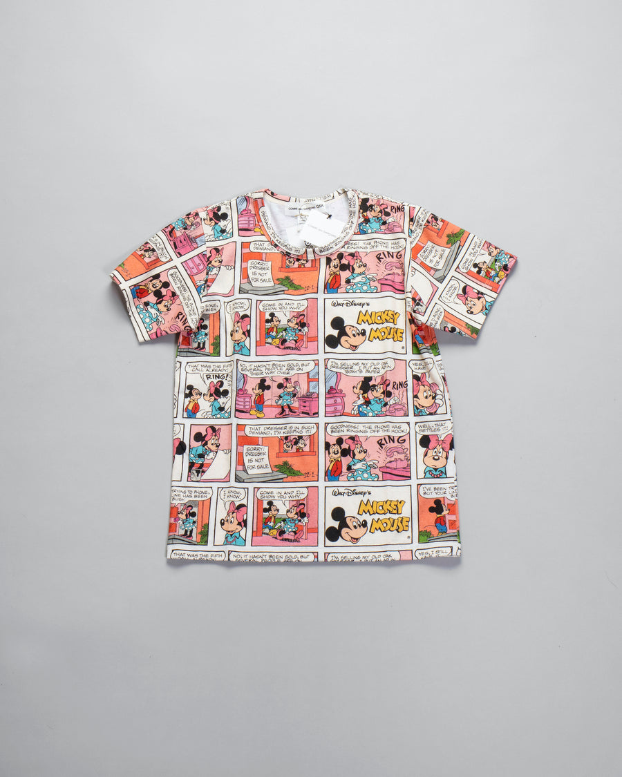 CDG, GIRL, COMME, DES, GARCONS, TOP, WOMEN'S, WOMENS, NOODLE, STORIES, T-SHIRT, TEE, SHORT, SLEEVE, CREW, NF-T006-051, NFT006051, T, COTTON, JERSEY, SPECKLED, MELANGE, VINTAGE, COMIC, STRIP, PRINTED, MICKEY, MINNIE, MOUSE, DISNEY, CREAM, BEIGE, OFF, WHITE, OFF-WHITE,