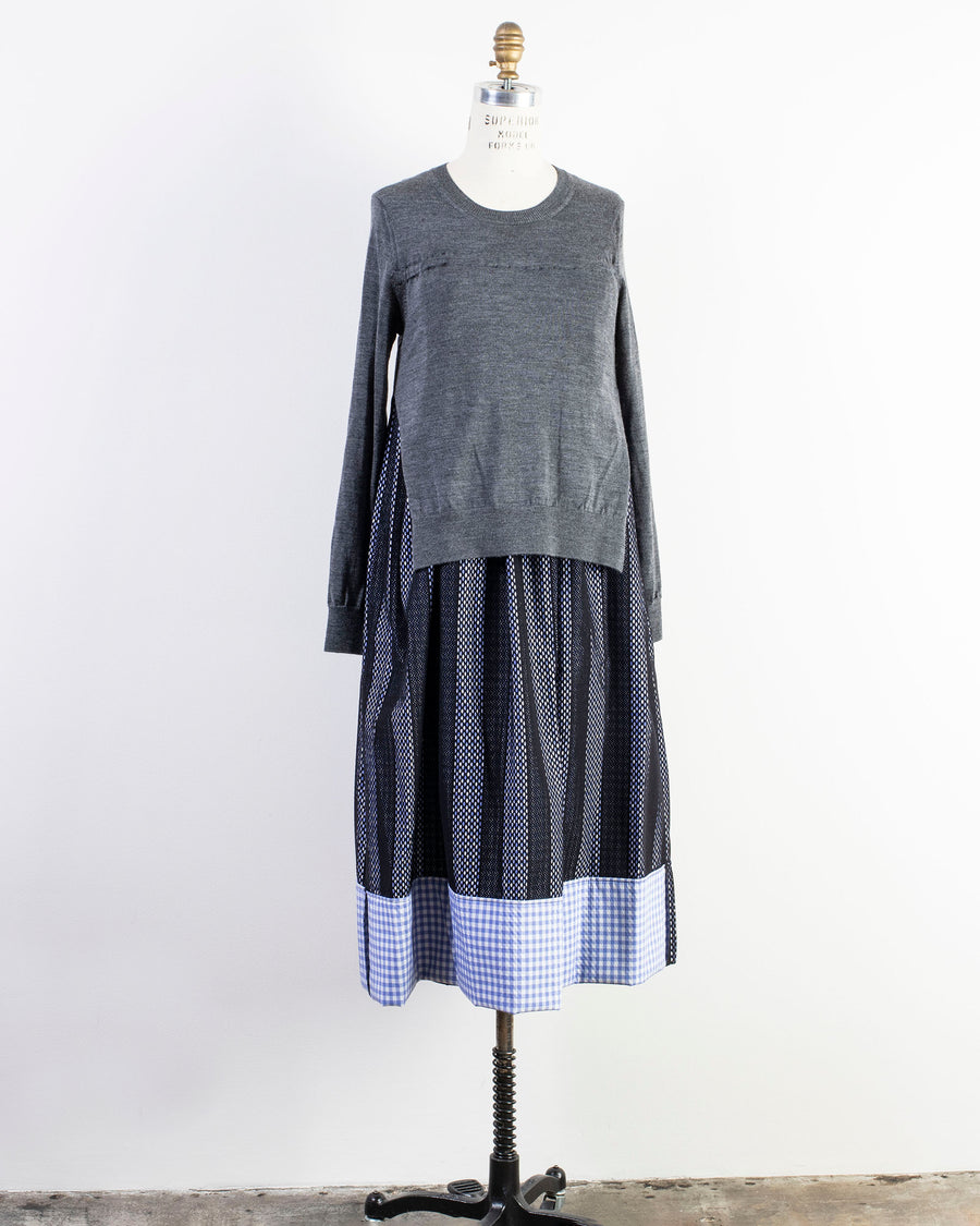 RF-O011-051, DRESS, NOODLE, STORIES, WOMEN'S, SWEATER, CREW, NECK, LONG, SLEEVE, MIDI, LAYERED, MIXED, COMBINATION,  NETTING, MESH, STRIPE, GINGHAM, CHECK, NYLON, NET, WORSTED, WOOL, COTTON, BLACK, BLUE, WHITE, GREY, GRAY,