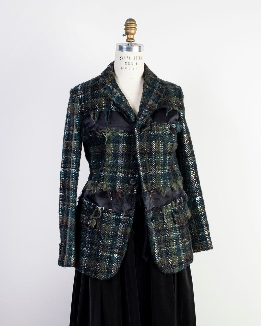 COMME DES GARCONS COMME DES GARCONS, CDG, CDG, RF-J005-051, JACKET, BLAZER, NOODLE, STORIES, WOMEN'S, DECONSTRUCTED, FRAYED,CHECK, SATIN, PANEL, THREE, BUTTON, WOOL, NYLON, TWEED, GREEN, WHITE, BLACK,