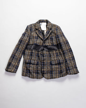 COMME DES GARCONS COMME DES GARCONS, CDG, CDG, RF-J020-051, JACKET, BLAZER, NOODLE, STORIES, WOMEN'S, DECONSTRUCTED, FRAYED,CHECK, SATIN, PANEL, THREE, BUTTON, WOOL, NYLON, GOLD, LAME, lamé, GARMENT, WASHED, GREY, NAVY, BLACK,
