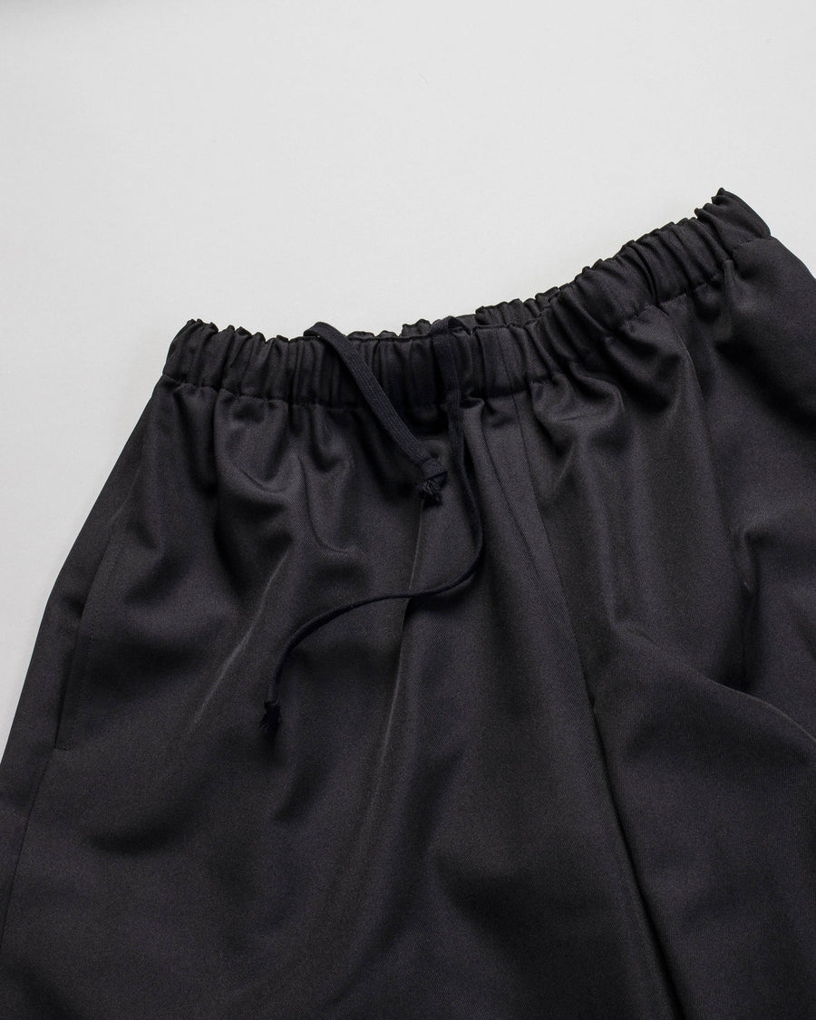 COMME DES GARCONS COMME DES GARCONS, CDG, CDG, WOMENS, WOMEN'S, RF-P006-051, POLY, POLYESTER, DRAWSTRING, PULL, ON, PULL-ON, ELASTIC, ENCASED, ELASTICATED, ANKLE, CROP, TROUSER, PANT, TWILL, BLACK,