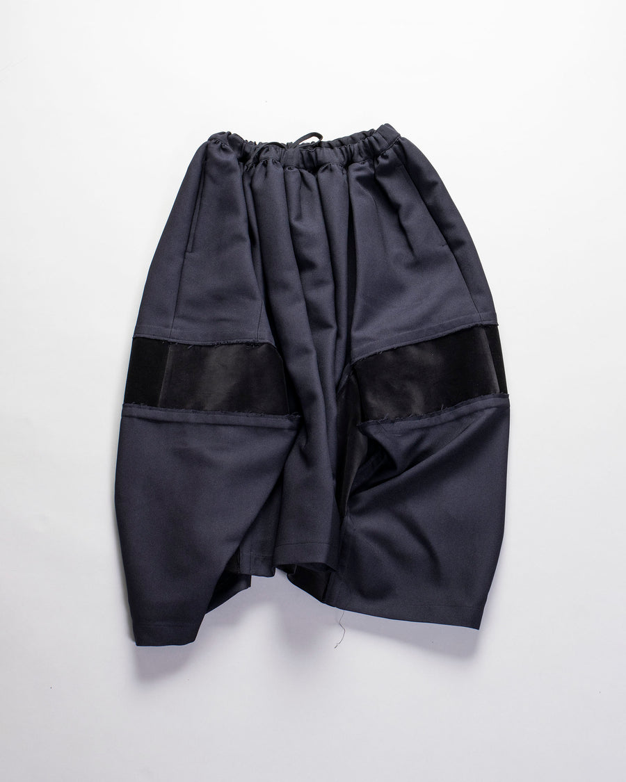 COMME DES GARCONS COMME DES GARCONS, CDG, CDG, SKIRT, RF-S012-051, WOMENS, WOMEN'S, wool, gathered, waist, DRAWSTRING, ASYMMETRIC, PANEL, SATIN, RAW, EDGE, DECONSTRUCTED, RAW, EDGE, POLYESTER, SERGE, COTTON, VELVETEEN, VELVET, BLACK, NAVY,