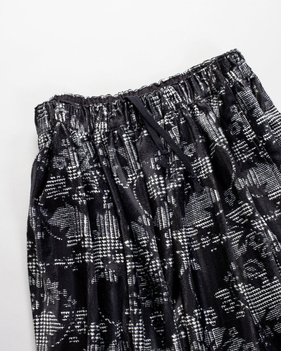 COMME DES GARCONS COMME DES GARCONS, CDG, CDG, SKIRT, RF-S019-051, PRINTED, FAUX, FUR, DAMASK, FLORAL, HOUNDSTOOTH, CHECK, NATURAL, BLACK, DRAWSTRING, ELASTIC, WAIST, ELASTICATED, POLYESTER,