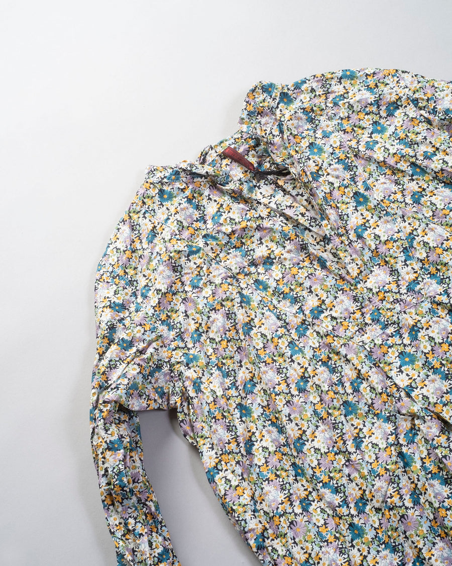 DANIELA, GREGIS, shirt, top, CAMICIA. kora, cicoria lavata, washed, CA48ACW, LY1, blue, red, liberty, of, london, floral, flower, cotton, lawn,