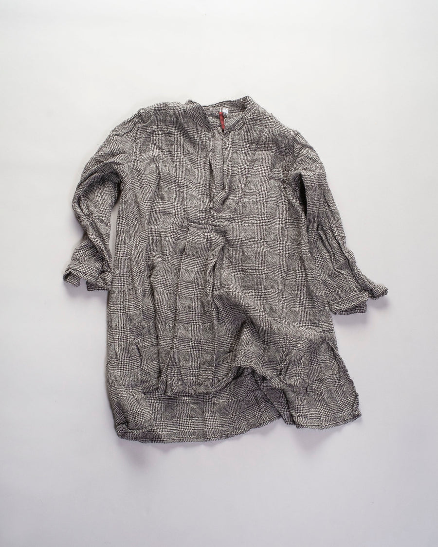 DANIELA, GREGIS, shirt, top, CAMICIA. kora, cicoria lavata, wool, glen, plaid, grey, cream, black, washed, CA48ACW, W364, DANIELA, GREGIS, shirt, top, CAMICIA. kora, cicoria lavata, wool, glen, plaid, grey, cream, black, washed, CA48ACW, W364,
