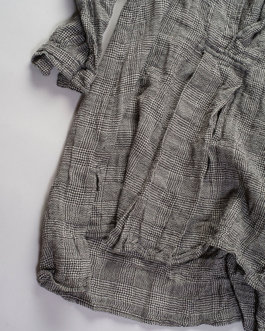 DANIELA, GREGIS, shirt, top, CAMICIA. kora, cicoria lavata, wool, glen, plaid, grey, cream, black, washed, CA48ACW, W364,