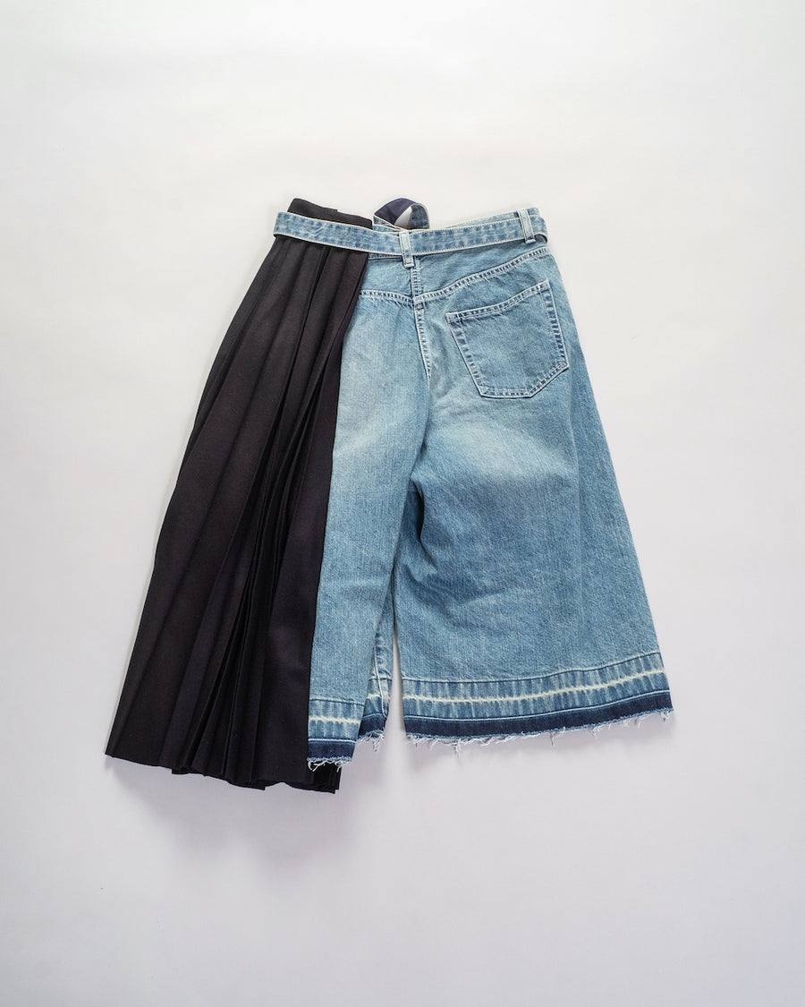 denim mix pants