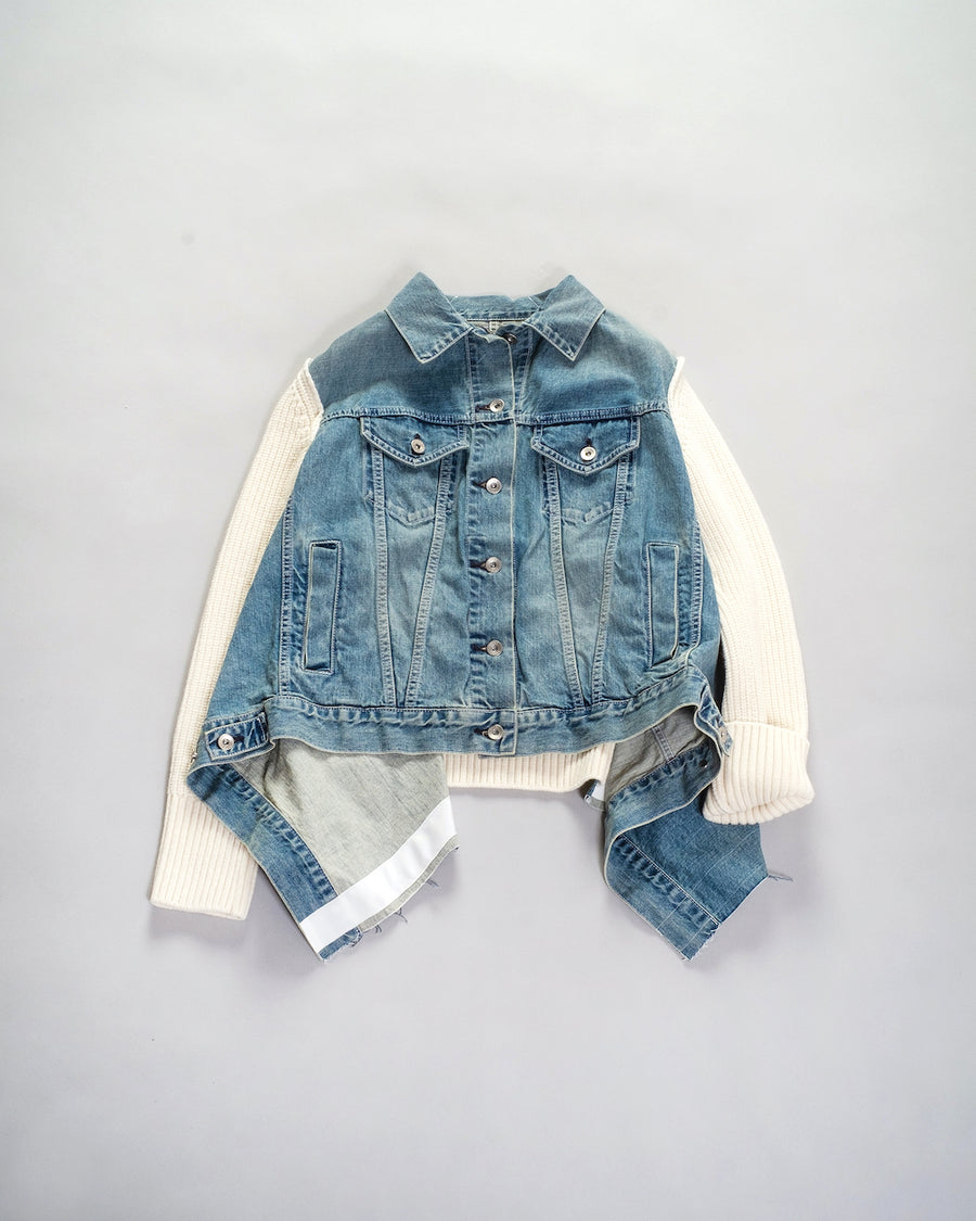 denim mix blouson