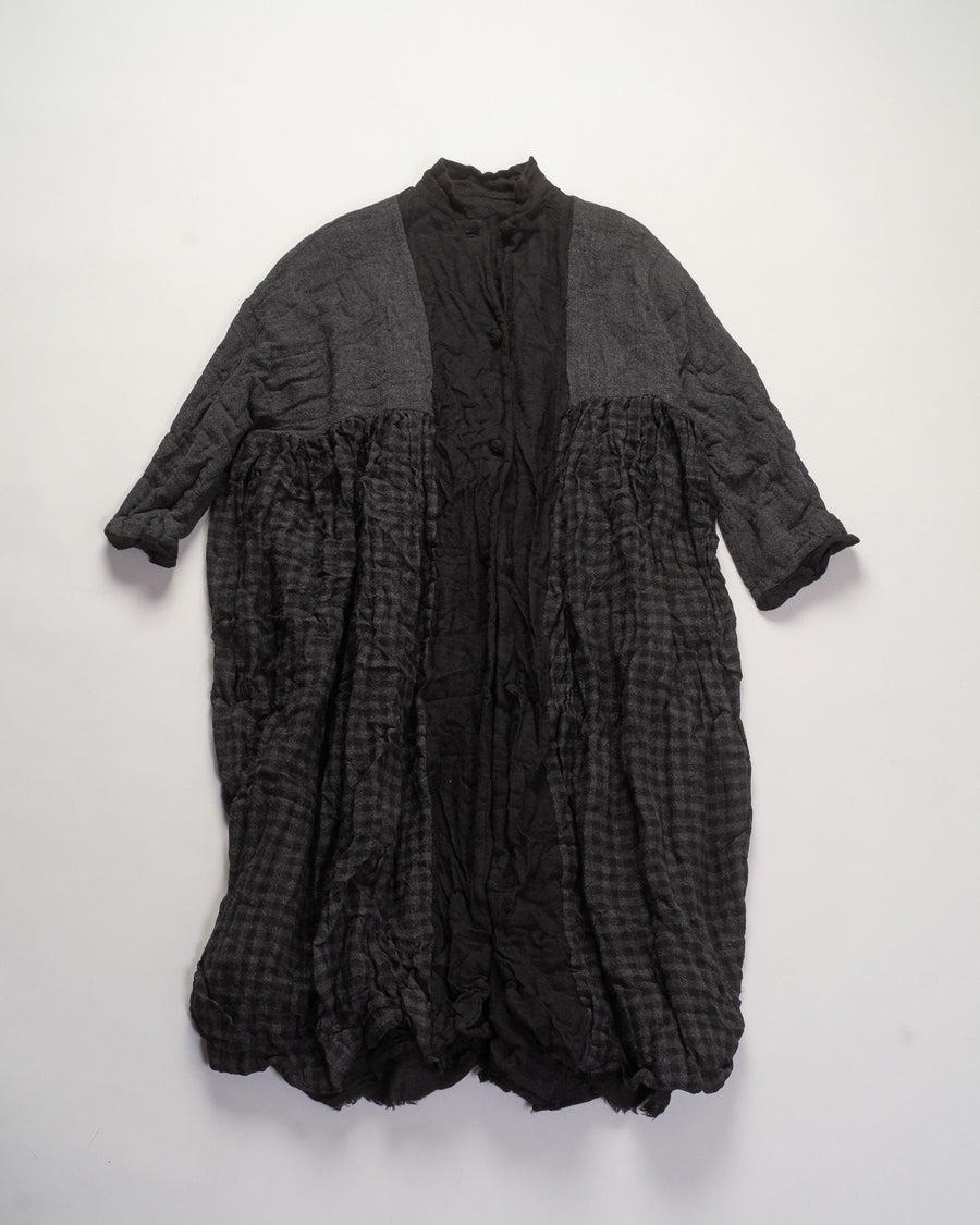 daniela gregis washed wool reversible coat dress in black / grey check | noodle stories