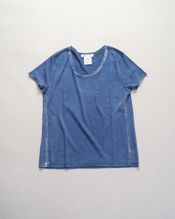 paychi guh printed cashmere short sleeve tee in blue | noodle stories