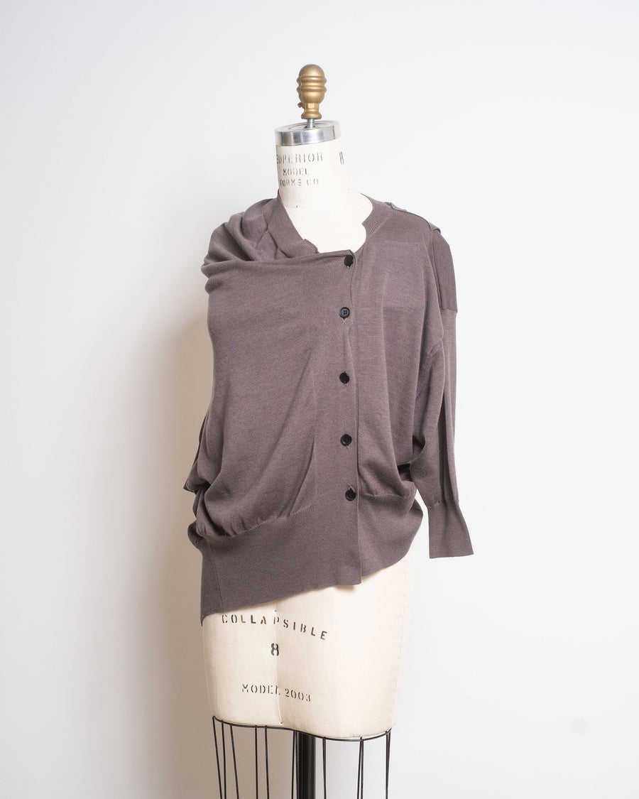 short sleeve draped cardigan