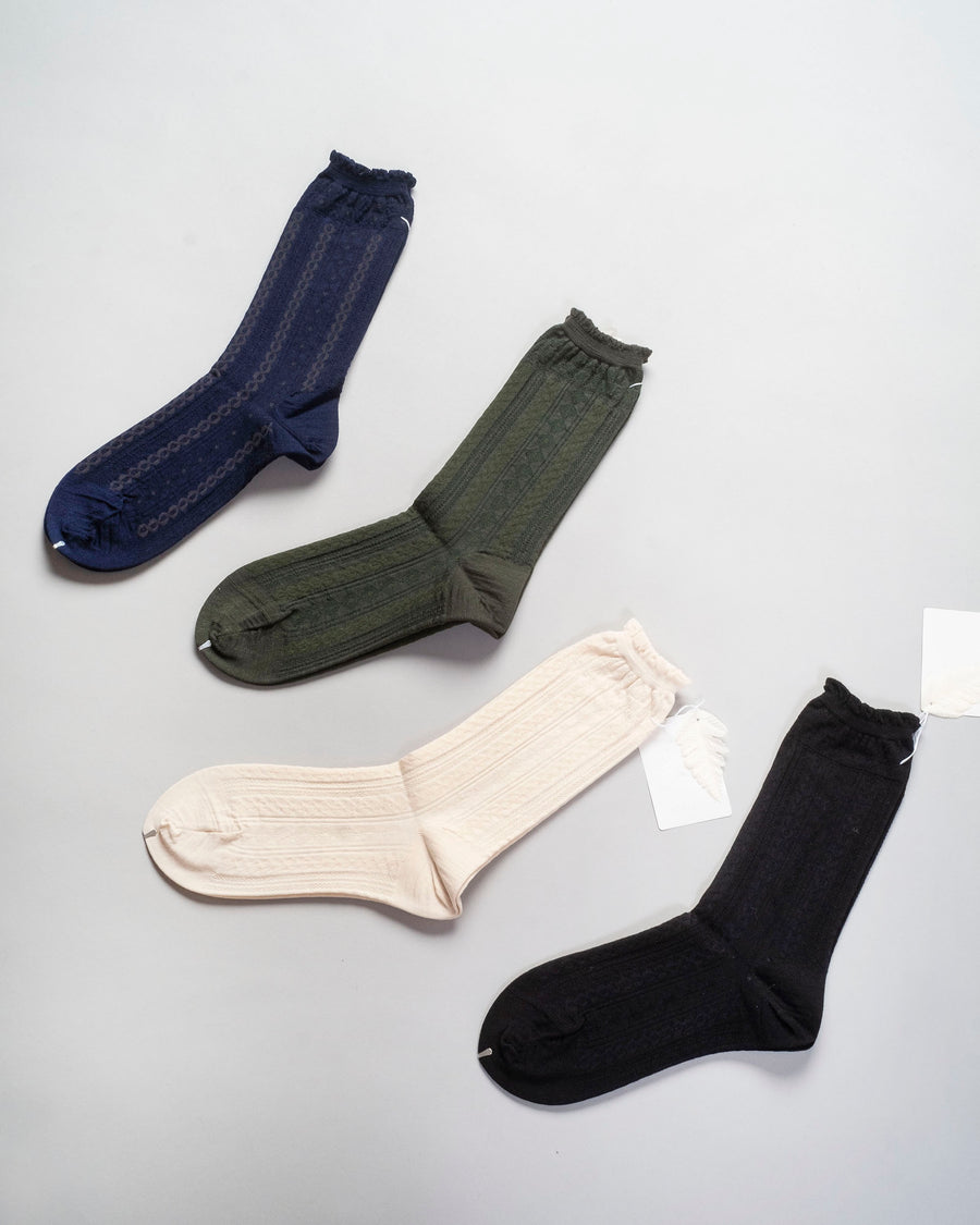 chain stitch crew socks