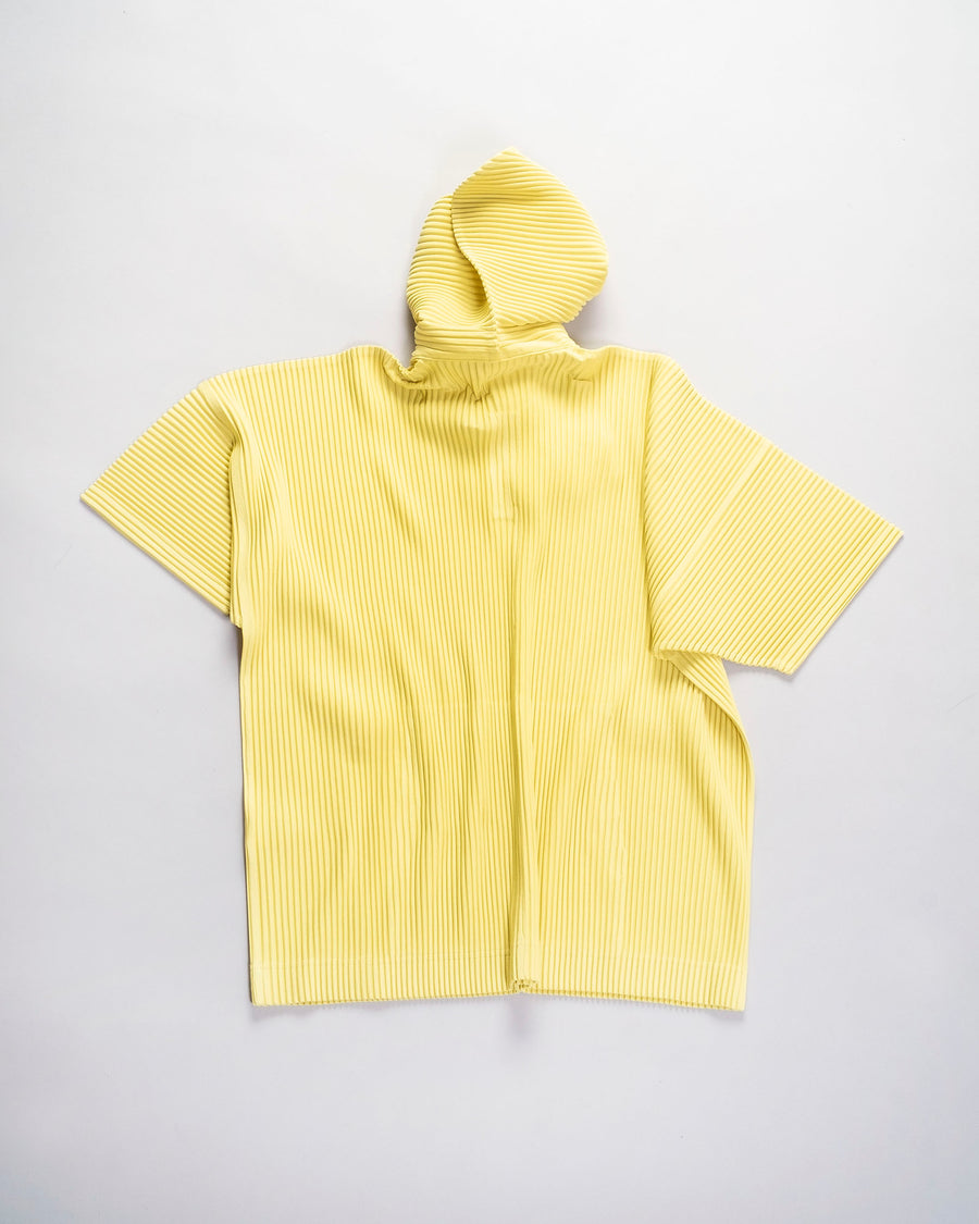HP08 JK101 issey miyake homme plisse plissé mens men's womens women's pleats pleated pleat hooded pullover kangaroo pocket snap hoodie grass yellow green noodles stories