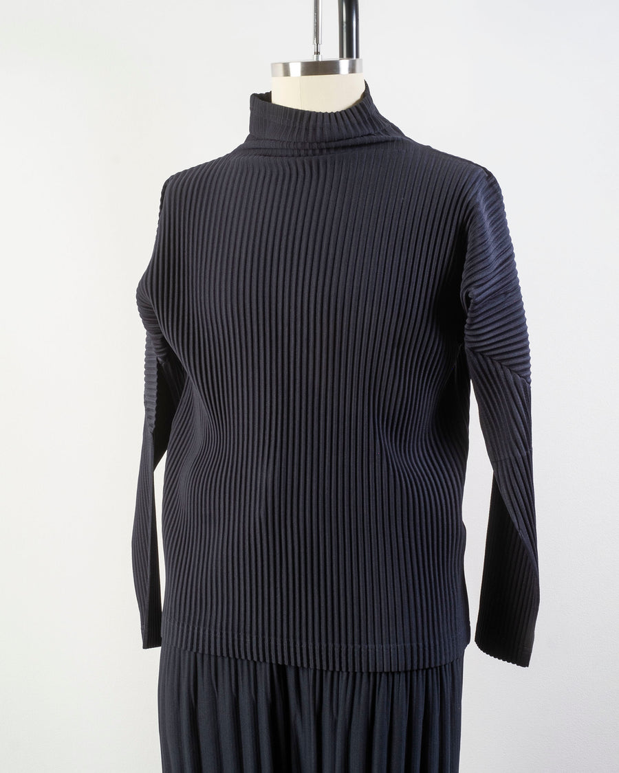 HP08 JK122 issey miyake homme plisse plissé mens men's womens women's pleats pleated pleat turtleneck turtle neck long sleeve NAVY BLACK noodles stories
