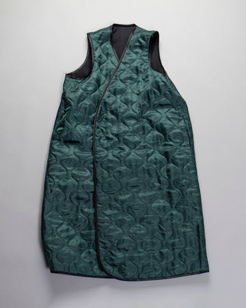 ECOLE, DE, CURIOSITES, école de curiosités, WOMEN'S, WOMENS, NOODLE STORIES, COAT, JACKET, VEST, SLEEVELESS, WOOL, CUPRO, CORINNE, REVERSIBLE, QUILTED, LONG, VEST, BLACK, GREEN,