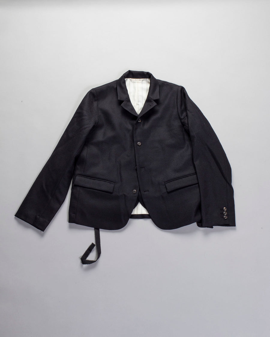 ECOLE, DE, CURIOSITES, école de curiosités, WOMEN'S, WOMENS, NOODLE STORIES, BLAZER, JACKET, VEST, WAISTCOAT, JACQUES, REVERSIBLE, WOOL, LAYERED, QUILTED, BLACK, BLEU, BLUE,
