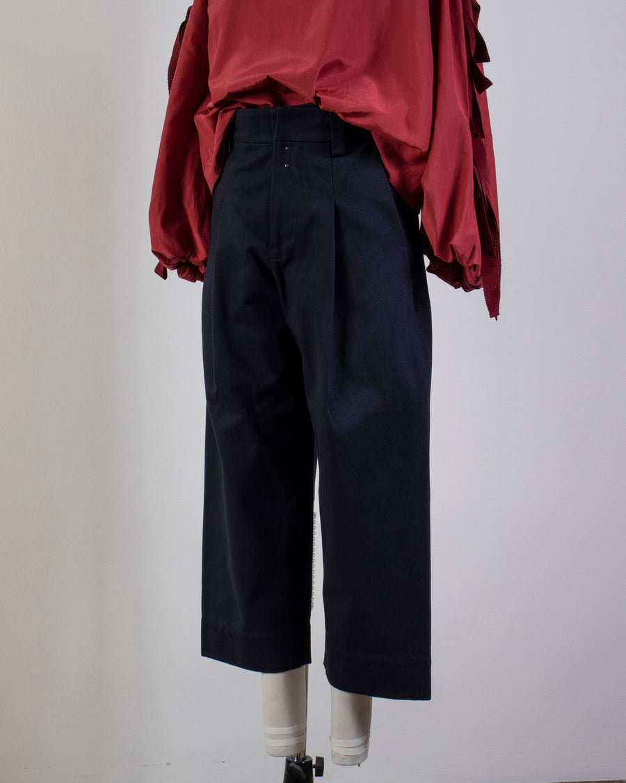 ECOLE, DE, CURIOSITES, école de curiosités, WOMEN'S, WOMENS, NOODLE STORIES, PANTS, PAUL, CROP, ANKLE, HIGH, WAIST, PLEATED, PLEAT, COTTON, DARK, NAVY,