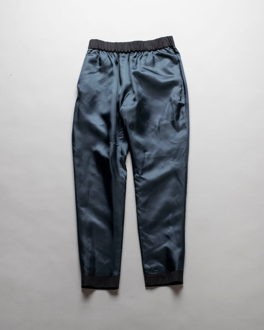 ECOLE, DE, CURIOSITES, école de curiosités, WOMEN'S, WOMENS, NOODLE STORIES, PANTS, PHILIP, REVERSIBLE, SLIM, CROP, CROPPED, ANKLE, WOOL, CUPRO, PULL, ON, ELASTIC, BLACK, BLUE,