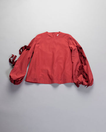 ECOLE, DE, CURIOSITES, école de curiosités, WOMEN'S, WOMENS, NOODLE STORIES, TOP, SILVIA, BUTTON, BACK, TIED, RIBBON, SHIRT, RED,