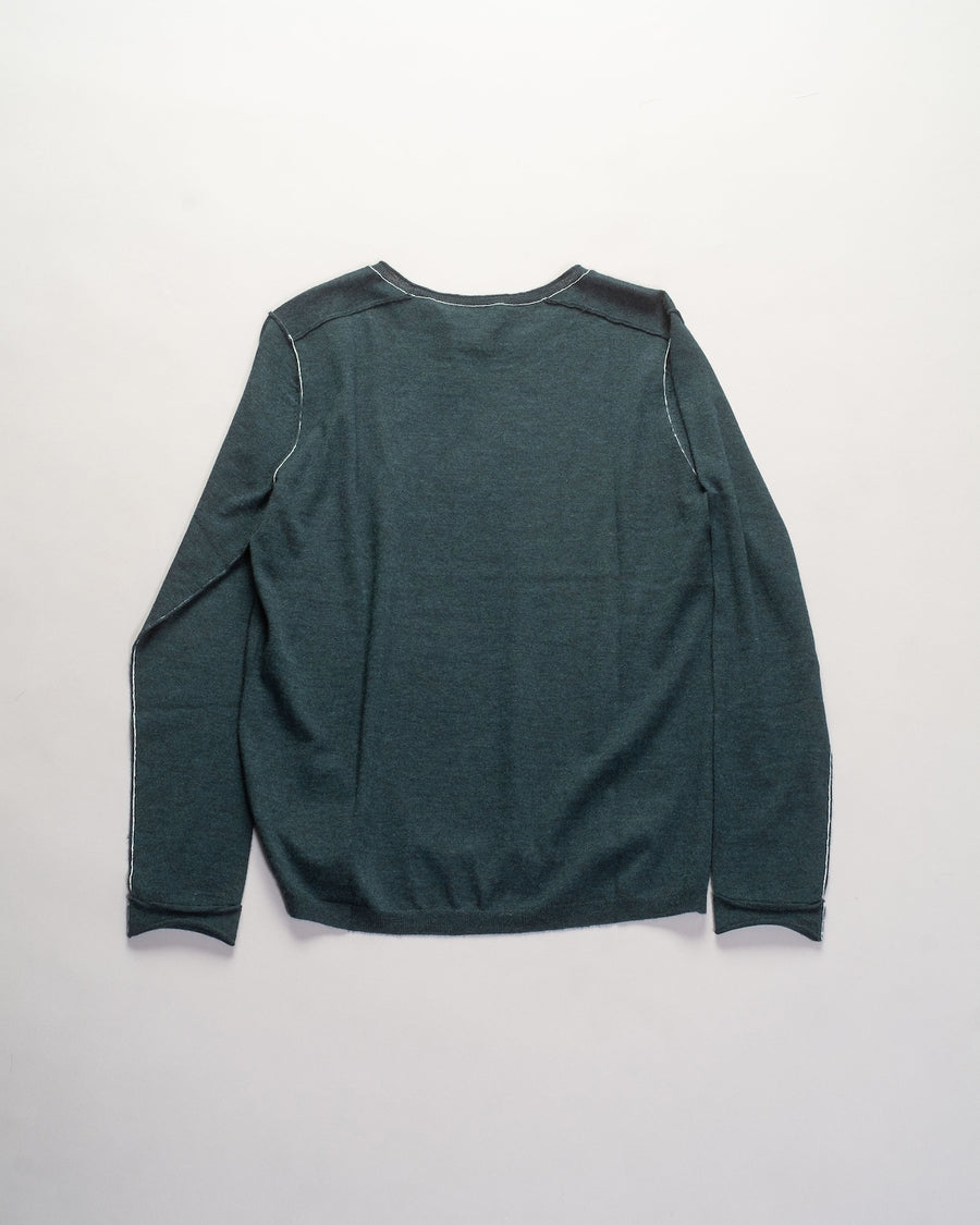 F146 paychi guh women's women mongolian cashmere long sleeve baby tee sweater contrast seam worsted dark teal green | noodle stories